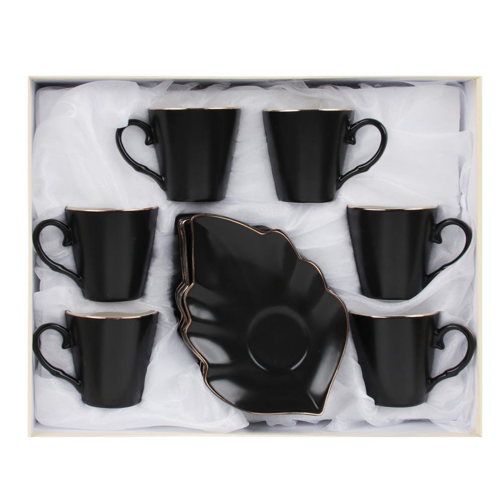 MILLIMI Лист блэк Набор кофейный 12пр., 80мл, 14,5х10см, костяной фарфор - 4