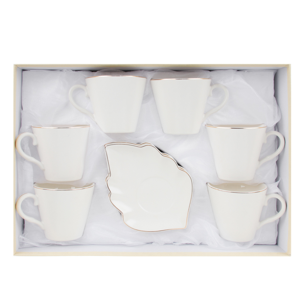 MILLIMI Лист вайт Набор чайный 12пр., 220мл, 16x11,5см, костяной фарфор - 4