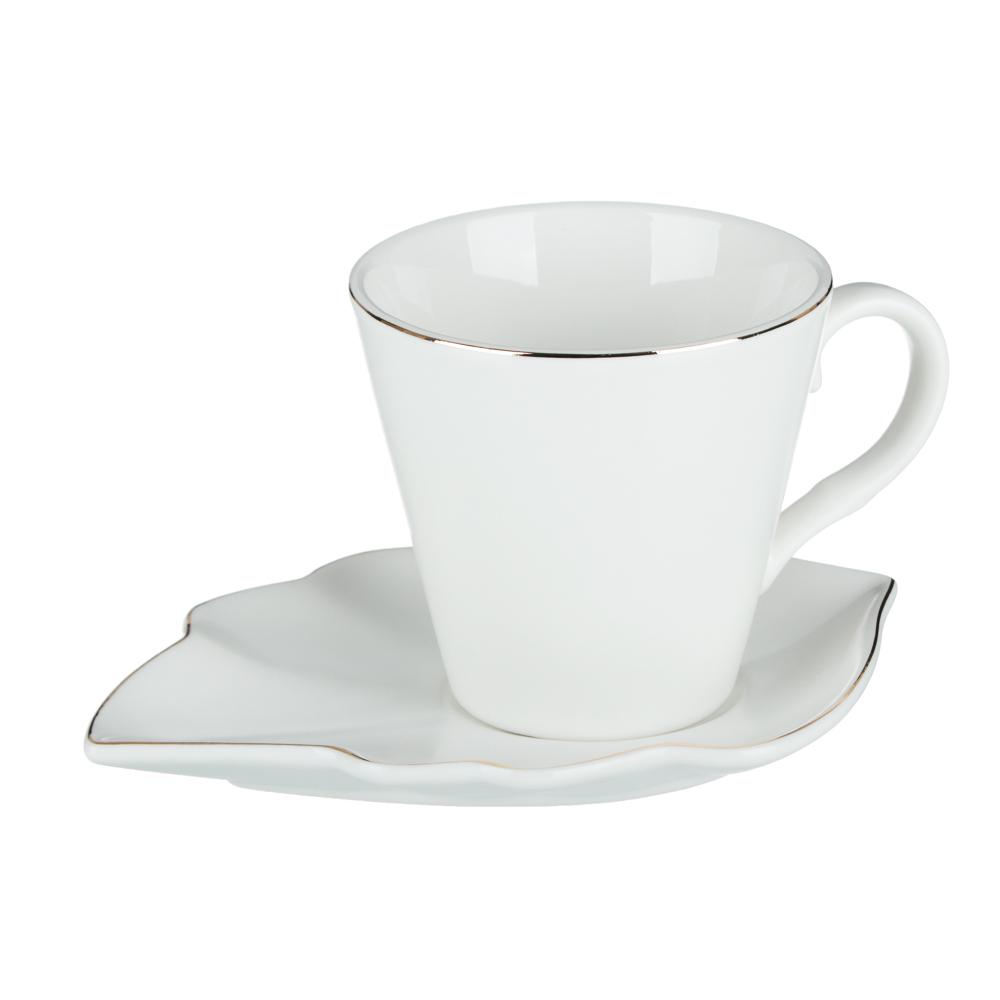 MILLIMI Лист блэк&вайт Набор чайный 2 пр., 220мл, 16x11,5см, костяной фарфор, 2 цвета - 2