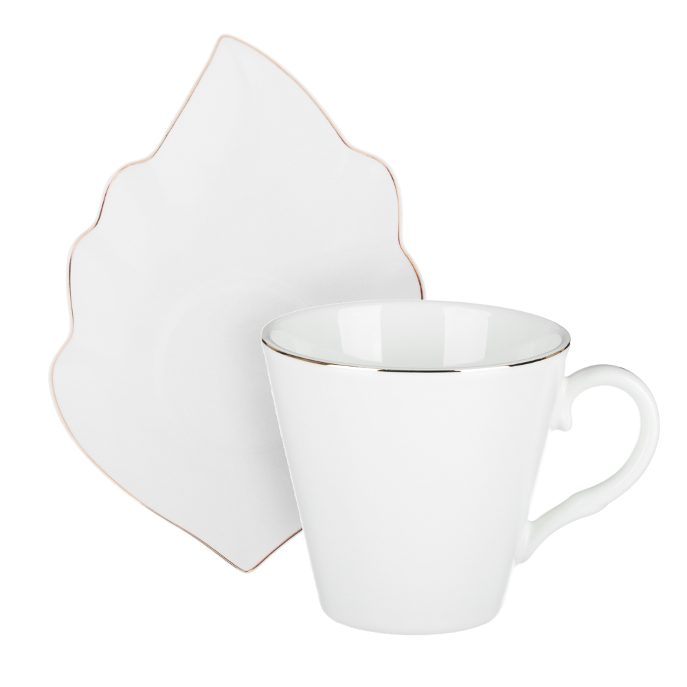 MILLIMI Лист блэк&вайт Набор чайный 2 пр., 220мл, 16x11,5см, костяной фарфор, 2 цвета - 4