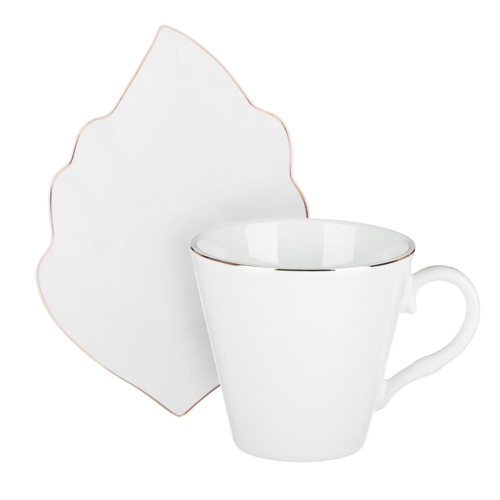 MILLIMI Лист блэк&вайт Набор чайный 4пр., 220мл, 16x11,5см, костяной фарфор - 2