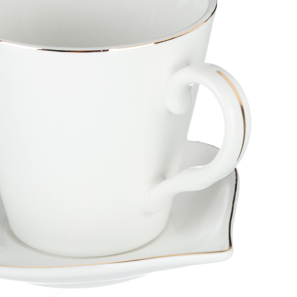 MILLIMI Лист блэк&вайт Набор чайный 4пр., 220мл, 16x11,5см, костяной фарфор - 3