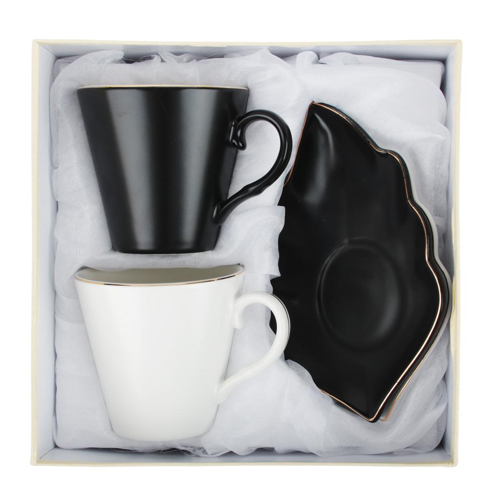 MILLIMI Лист блэк&вайт Набор чайный 4пр., 220мл, 16x11,5см, костяной фарфор - 4