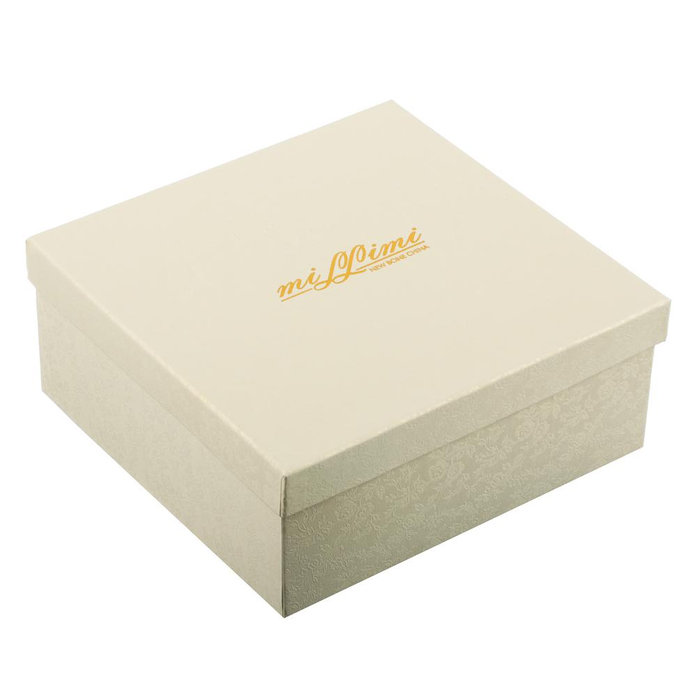 MILLIMI Лист блэк&вайт Набор чайный 4пр., 220мл, 16x11,5см, костяной фарфор - 5