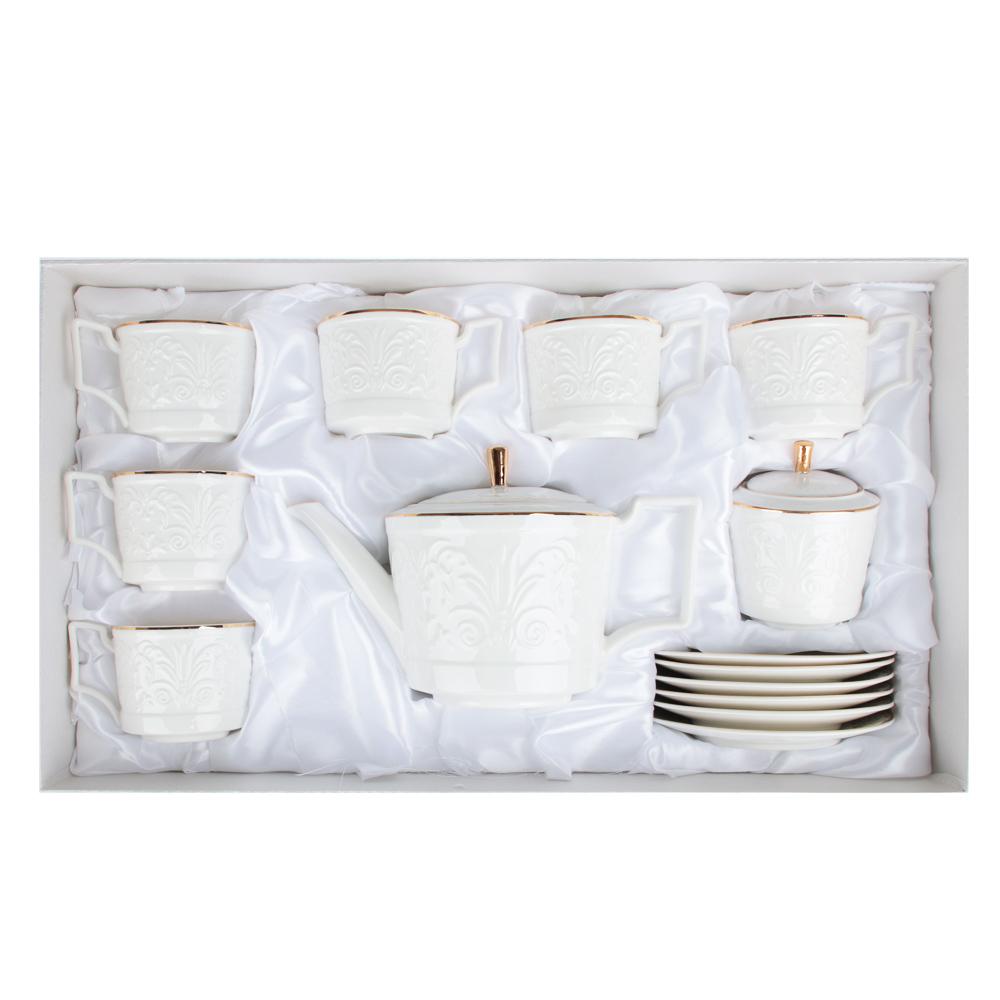 MILLIMI Да Винчи Набор чайный 14 пр., чашка 270мл, 15см, чайник 1050мл, сахарница 300мл, кост. фрф - 6