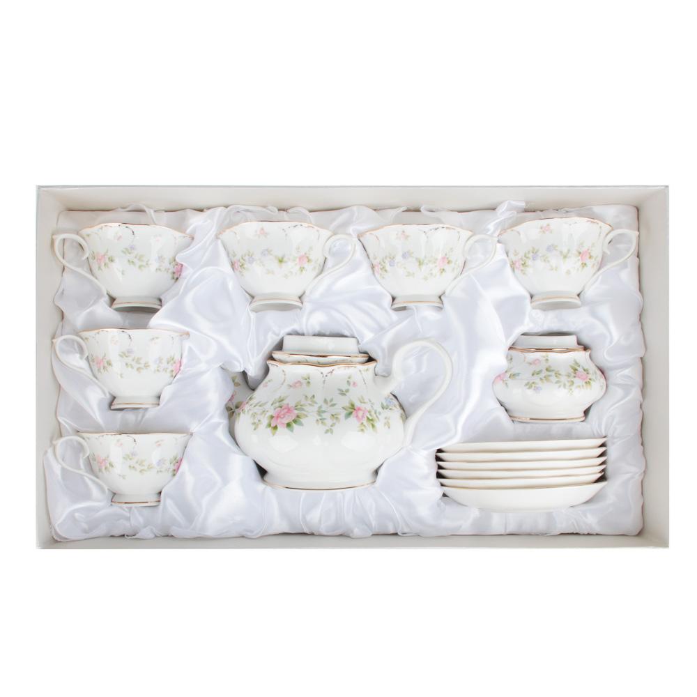 MILLIMI Вуаль Набор чайный 14 пр., чашка 240мл, 15см, чайник 1250мл, сахарница 310мл, кост. фрф - 6