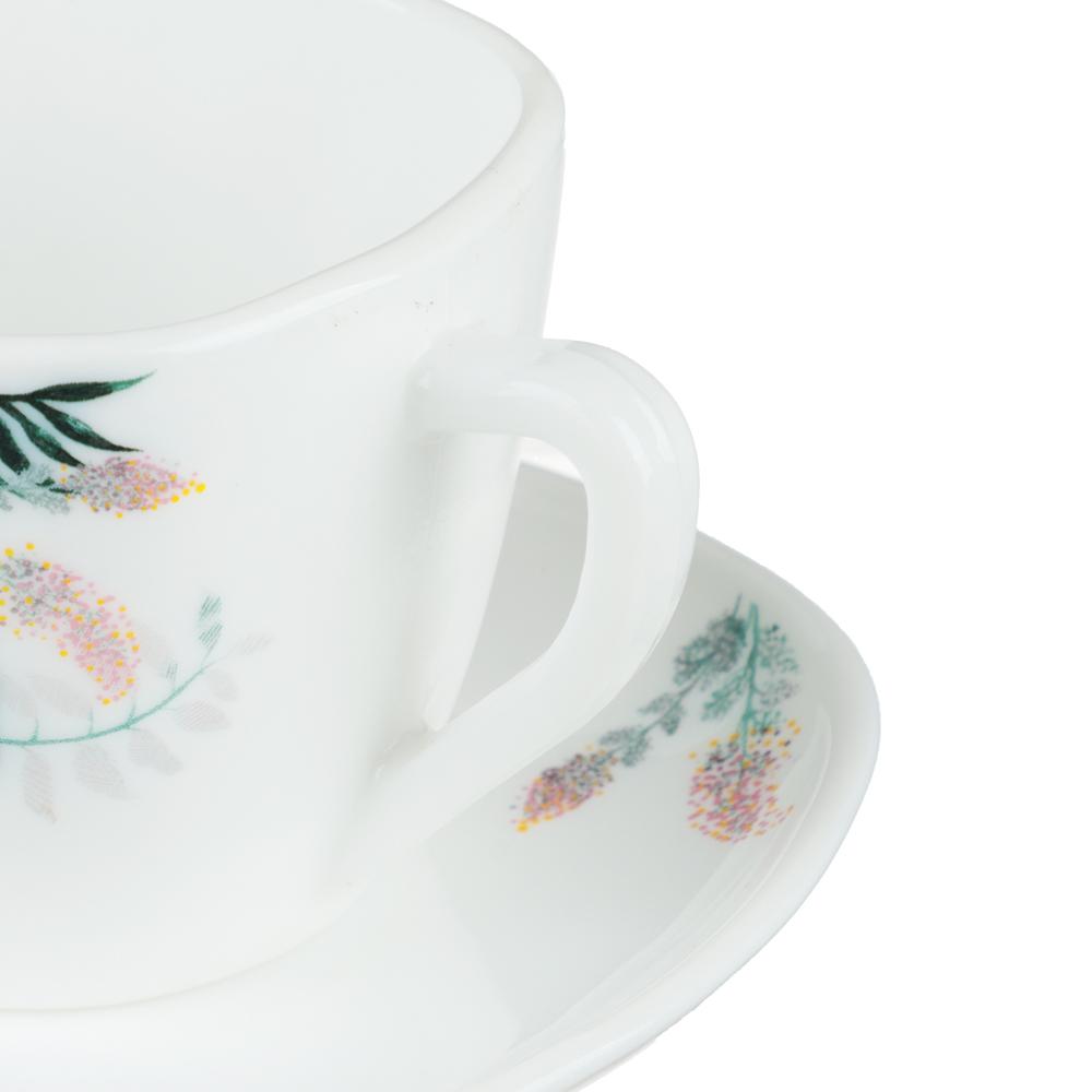 MILLIMI Тропикана Чайная пара (чашка 220мл., блюдце 14 см) опаловое стекло, 20048 - 2