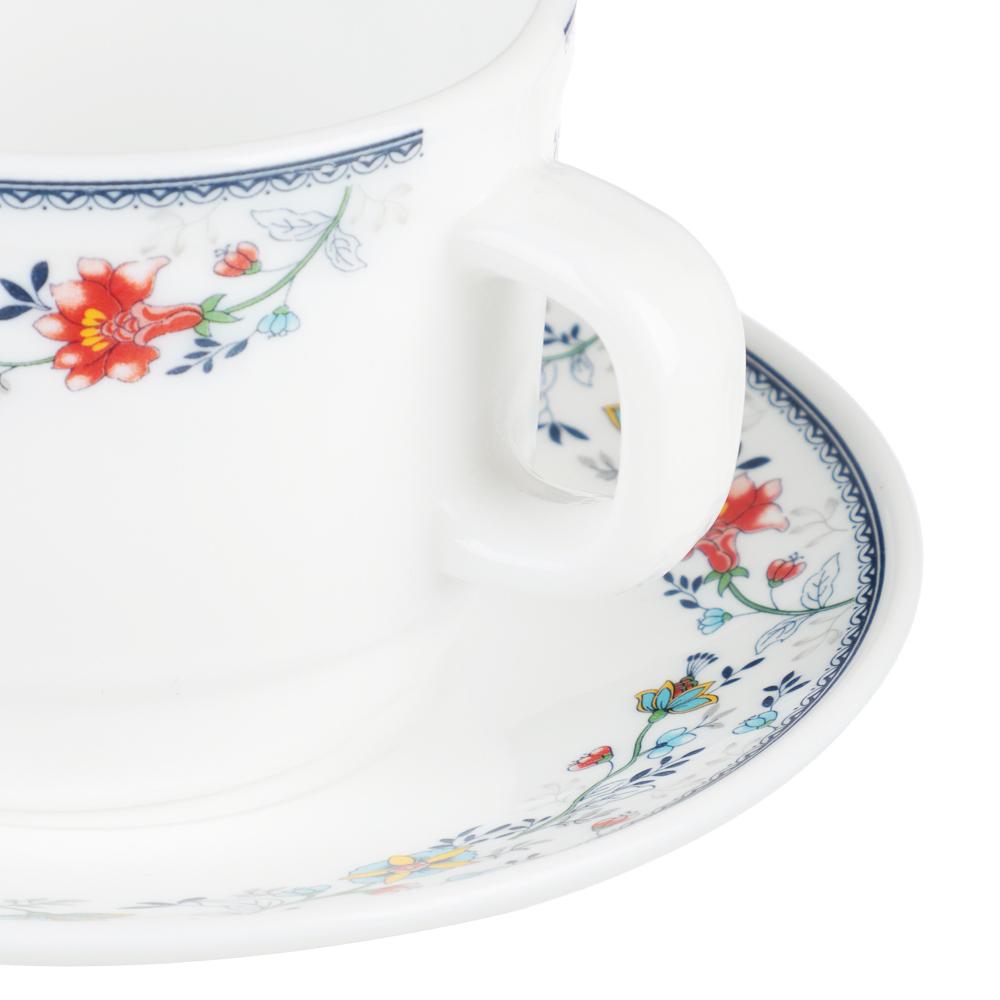 MILLIMI Виола Чайная пара (чашка 250мл., блюдце 15см) опаловое стекло, 21001 - 2