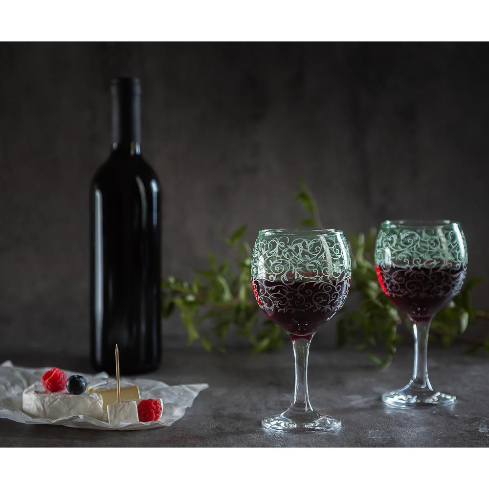 Набор бокалов 2шт для вина, 250 мл, с гравировкой, 4 цвета - 5
