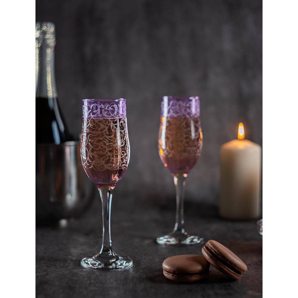 Набор бокалов 2шт для шампанского, 200 мл, с гравировкой, 4 цвета - 6