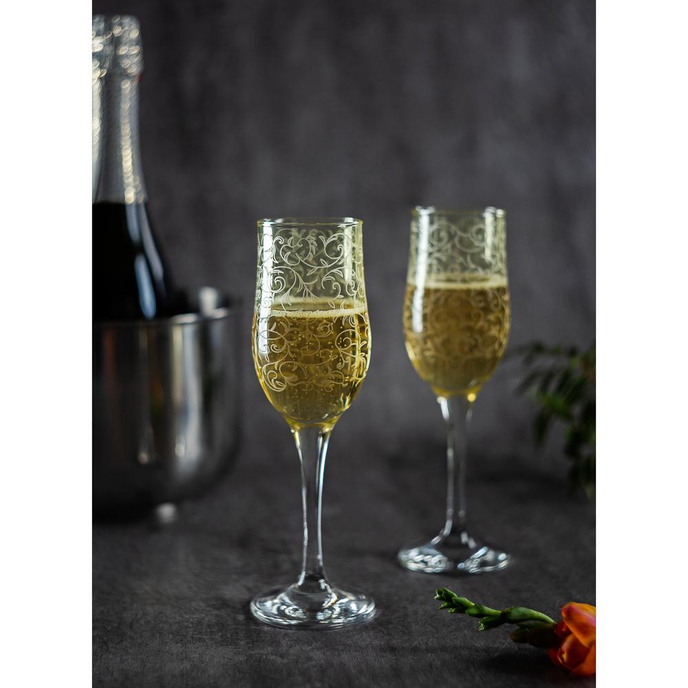 Набор бокалов 2шт для шампанского, 200 мл, с гравировкой, 4 цвета - 7