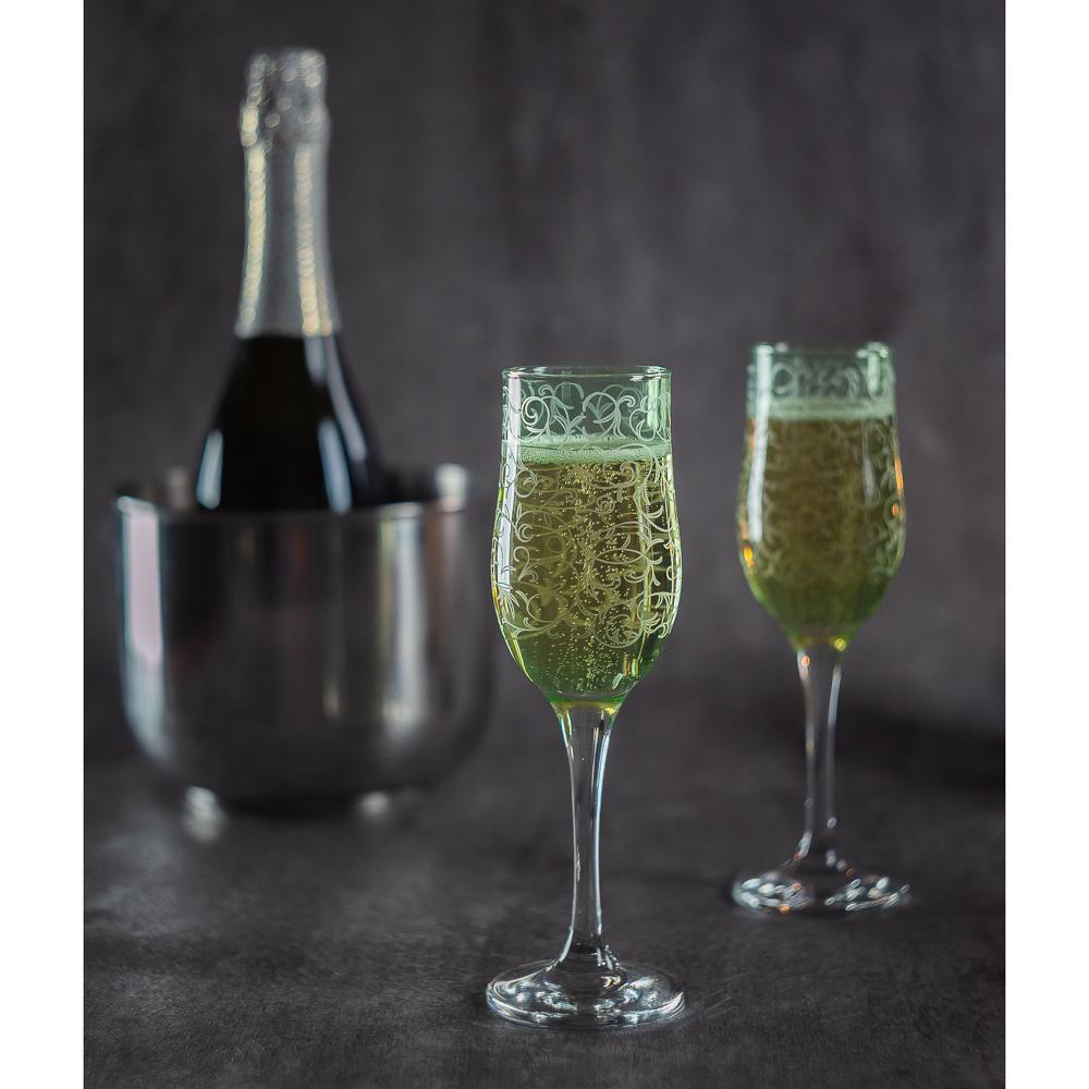 Набор бокалов 2шт для шампанского, 200 мл, с гравировкой, 4 цвета - 9